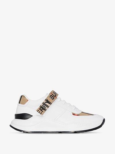 white Vintage Check strap sneakers