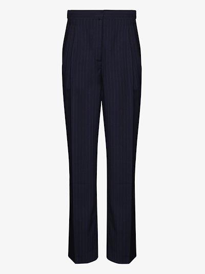 cropped straight leg pinstripe wool trousers
