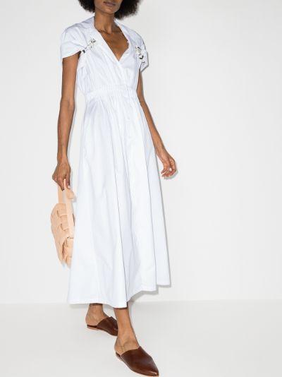 shirred cotton midi shirt dress
