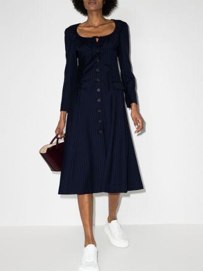 Tropical pinstripe virgin wool midi dress