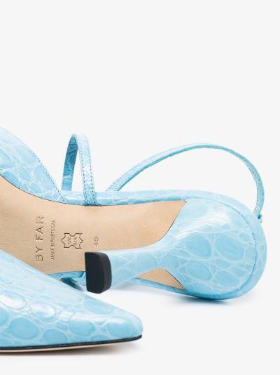 blue Tiffany 80 mock croc leather pumps