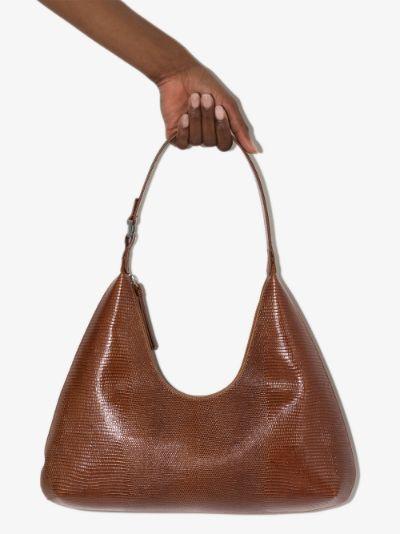 Brown Amber lizard effect shoulder bag