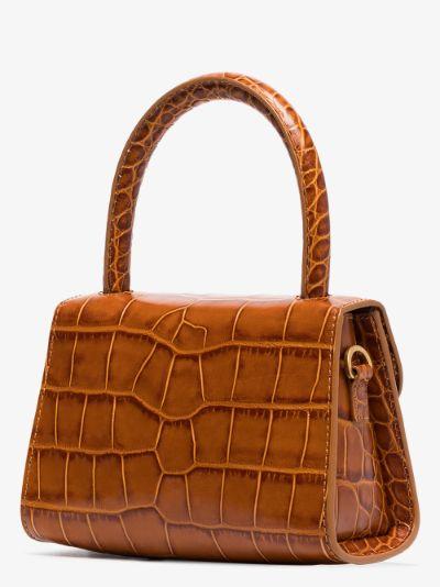 Brown mini mock croc cross body bag