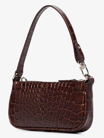 Brown Mini Rachel mock croc shoulder bag