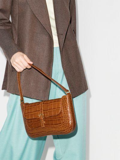 brown Miranda snake effect leather shoulder bag