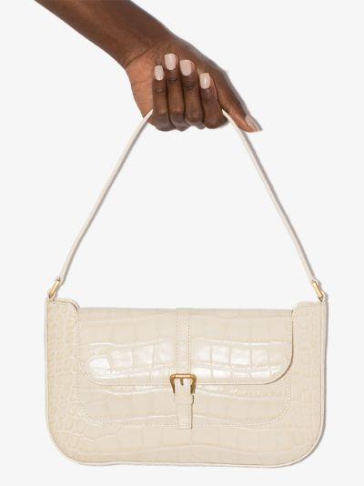 Cream mock croc leather shoulder bag