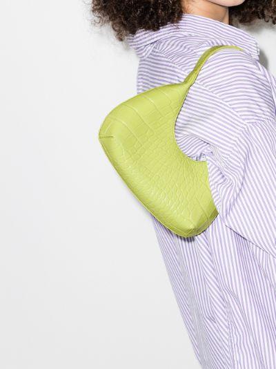 green Baby Amber mock croc leather shoulder shoulder bag