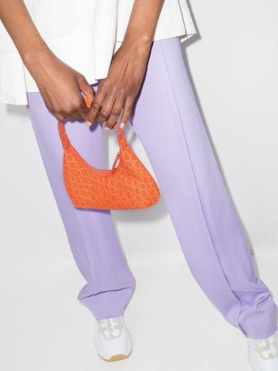 orange Baby Amber mock croc leather shoulder bag