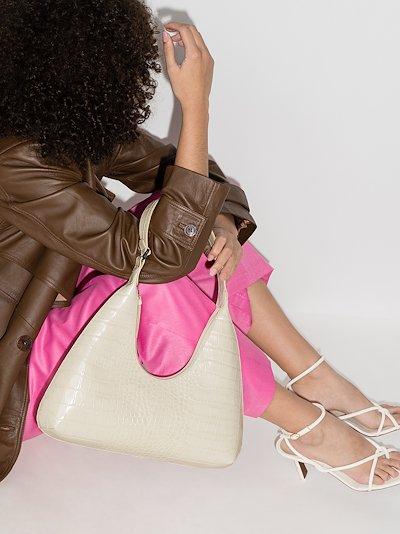 white Amber mock croc leather shoulder bag