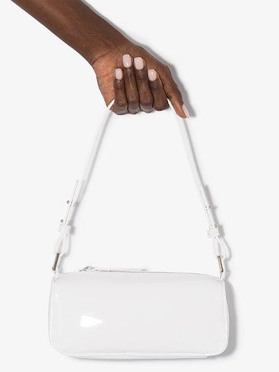 white Eve patent leather shoulder bag