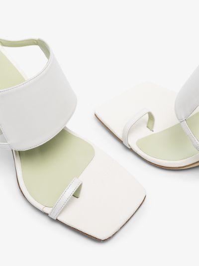 White Gigi 100 cutout leather sandals