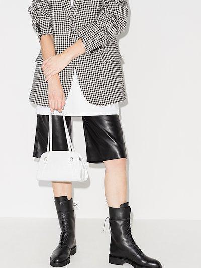 white Lora mock croc shoulder bag