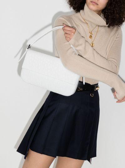 white Manu mock croc leather shoulder bag