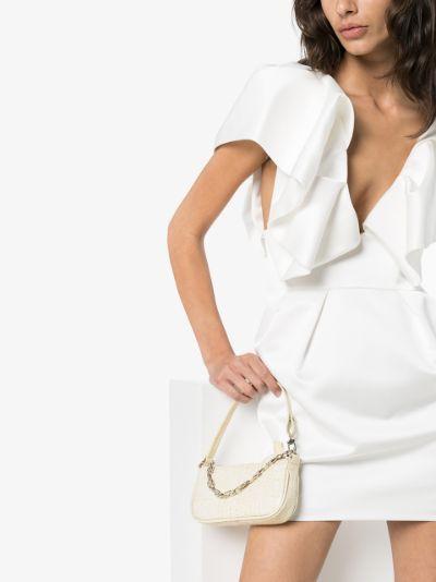 white mini Rachel mock croc leather shoulder bag