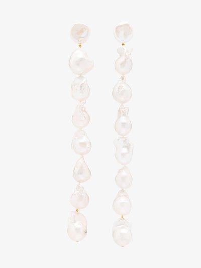 14K yellow gold Baroque Lariat pearl drop earrings