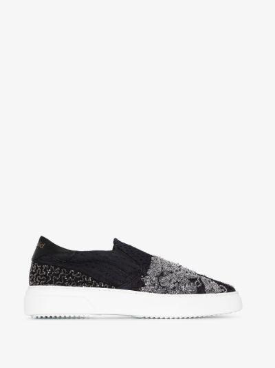 Black beaded slip-on sneakers