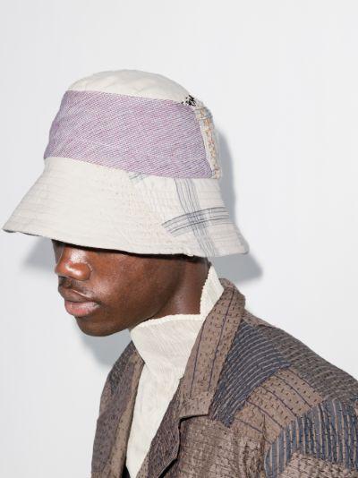 neutral Callum patchwork cotton bucket hat