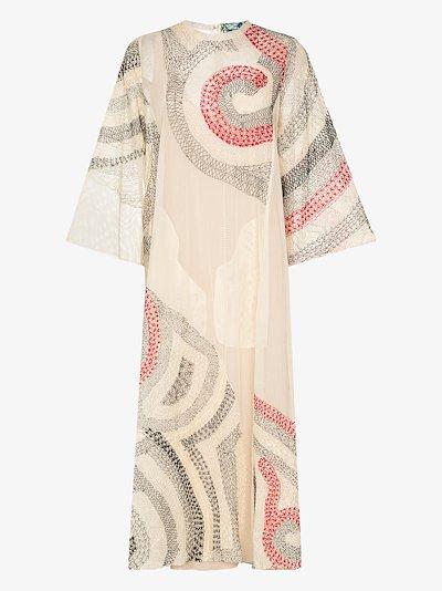 Rima embroidered silk dress