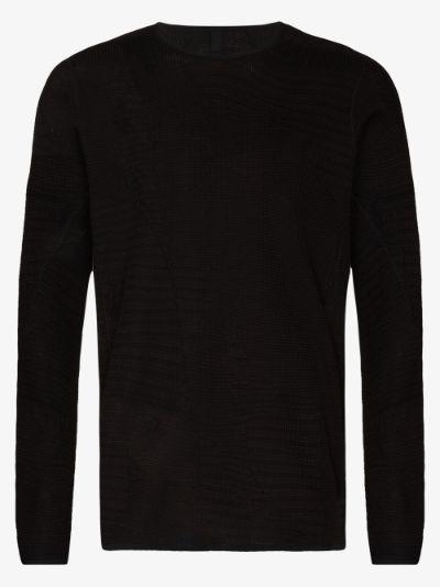 black Waffle long sleeve T-shirt