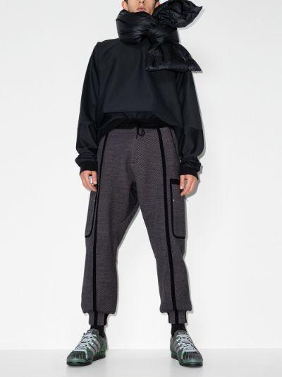 grey waffle drawstring track pants