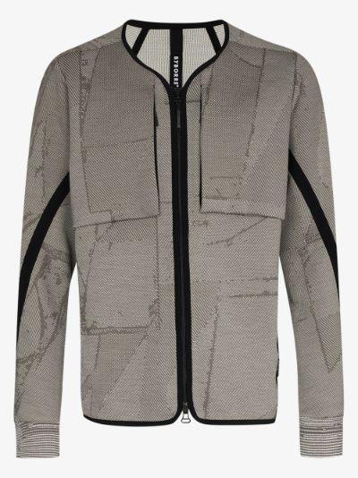 grey zip-up cardigan