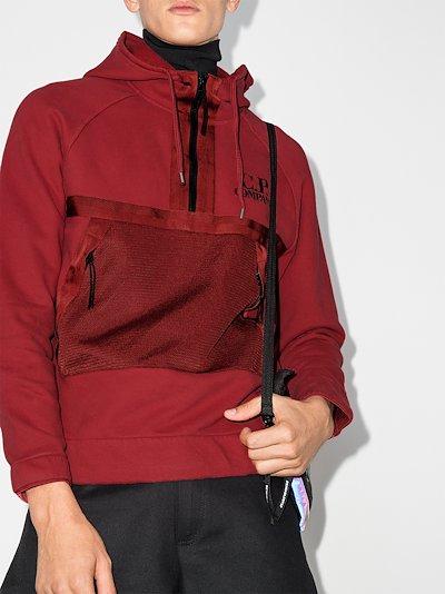 zip neck cotton logo hoodie