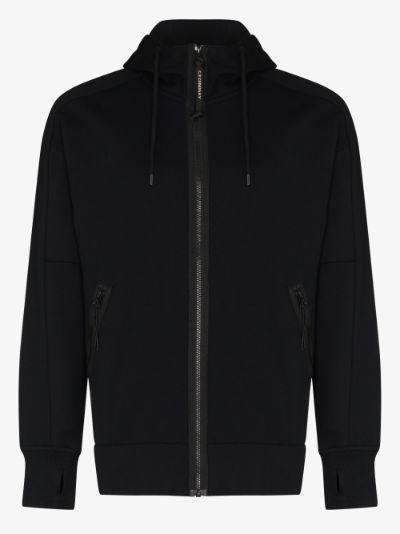 zip-up cotton goggle hoodie