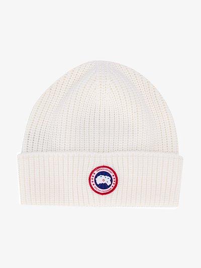 White Arctic Disc Rib Toque wool beanie hat
