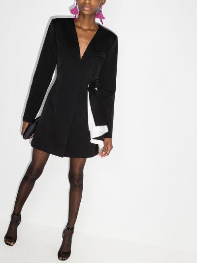 draped blazer mini dress