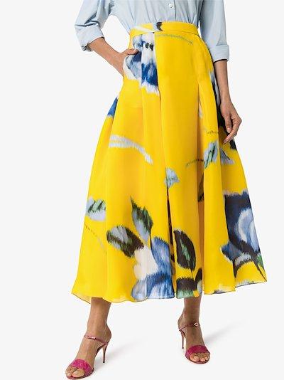 floral print silk midi skirt