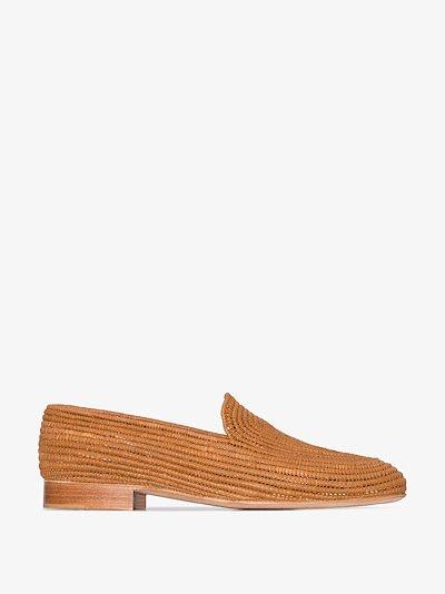 brown Atlas raffia loafers