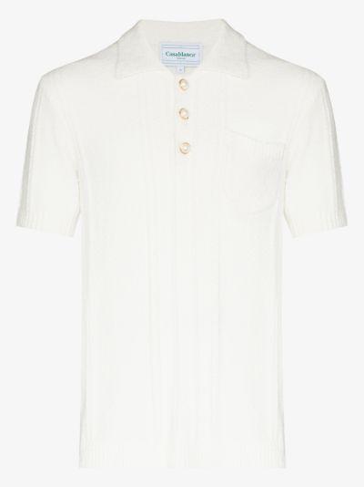 Bouclé knit polo shirt