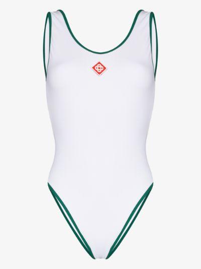 Court Logo Print Swimsuit