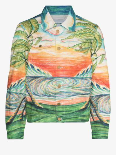huakai printed denim jacket