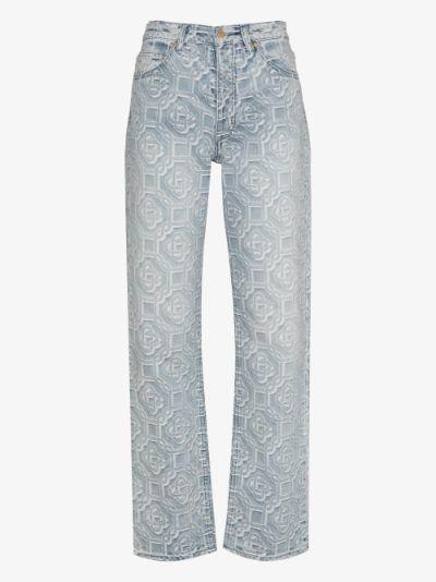jacquard logo jeans