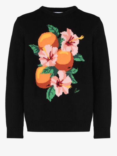 Kapalia oranges intarsia knit sweater