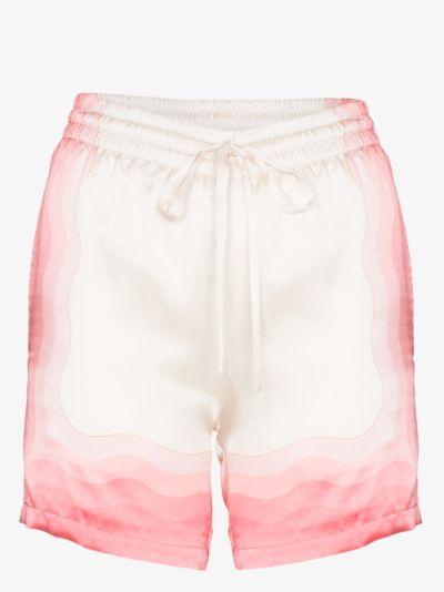 kapalia printed silk drawstring shorts