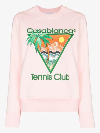 Tennis Club print cotton sweatshirt