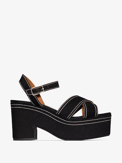 black Xally 100 platform sandals