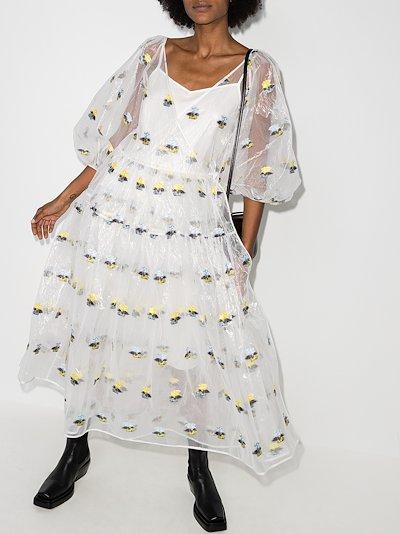X Browns 50 Regitze embroidered floral midi dress