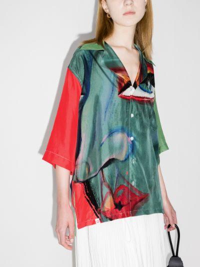 Hawaiian graphic print silk shirt
