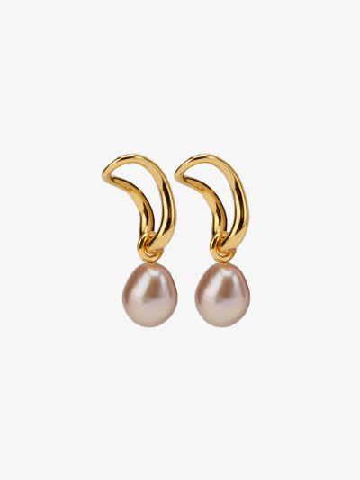 gold vermeil Pearl slide earring