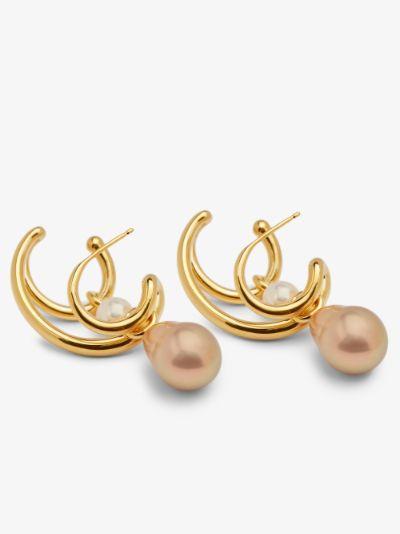 gold vermeil Pearl Triplet earring