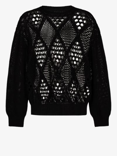 diamond knit cotton sweater