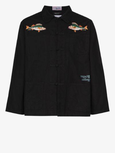 Fish embroidered shirt jacket