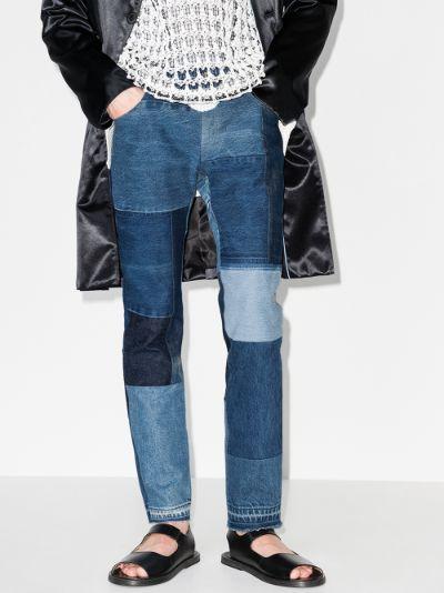 patchwork straight leg jeans