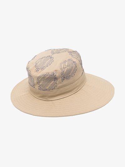 Beige monogram jacquard wool hat