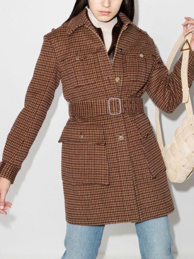 belted houndstooth tweed coat