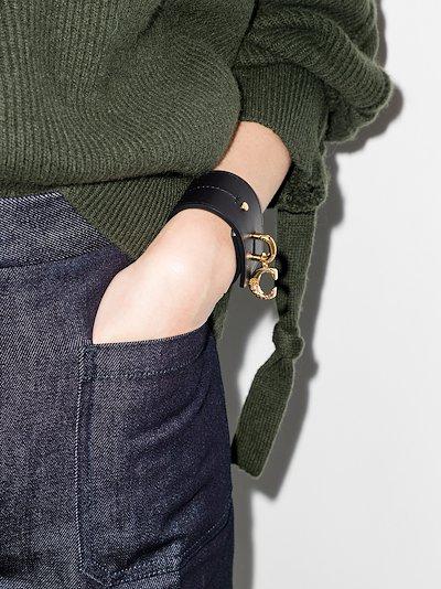 black Alphabet leather cuff bracelet