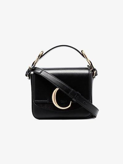 black C mini leather shoulder bag